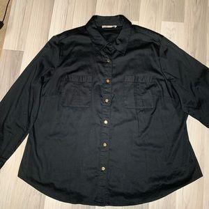 Michael Kors Plus Black Button Down Gold Buttons